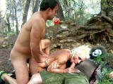 Vidéo porno mobile : The nasty witch fucked by two guys in the woods